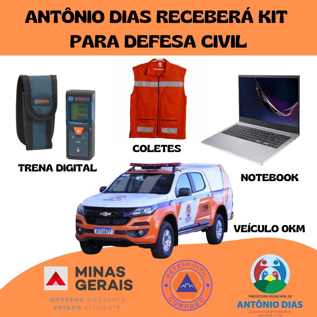 ANTÔNIO DIAS RECEBERÁ KIT PARA DEFESA CIVIL