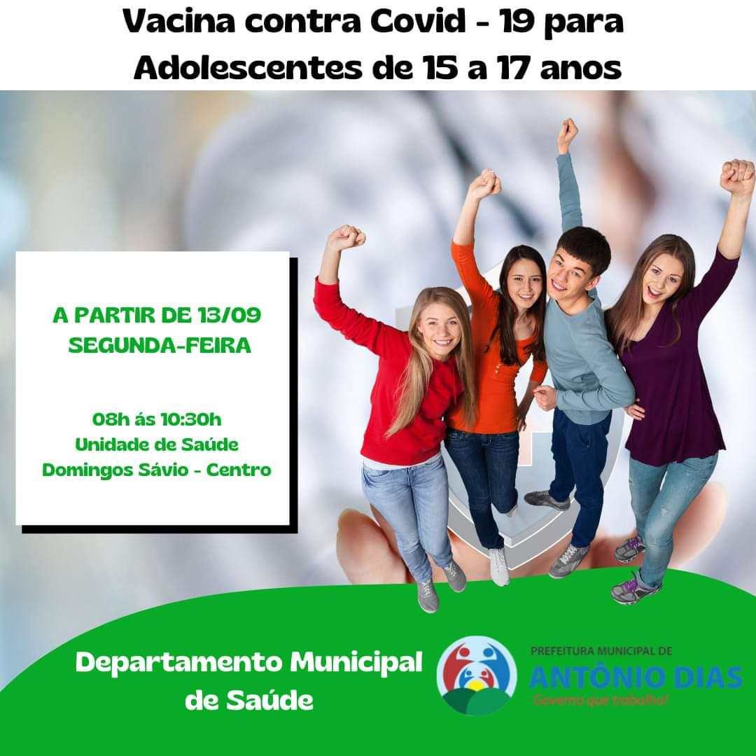 VACINAÇÃO CONTRA COVID-19 : ADOLESCENTES DE 15 A 17 ...