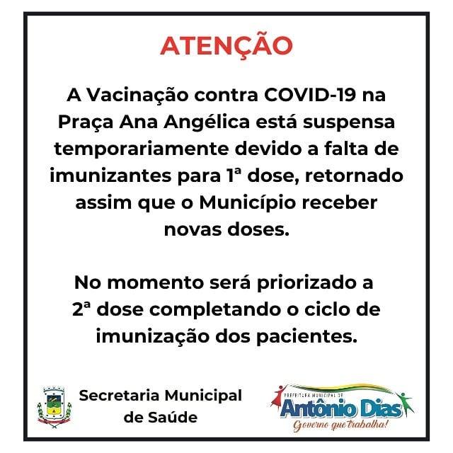 VACINAÇÃO CONTRA COVID-19 SUSPENSA TEMPORARIAMENTE