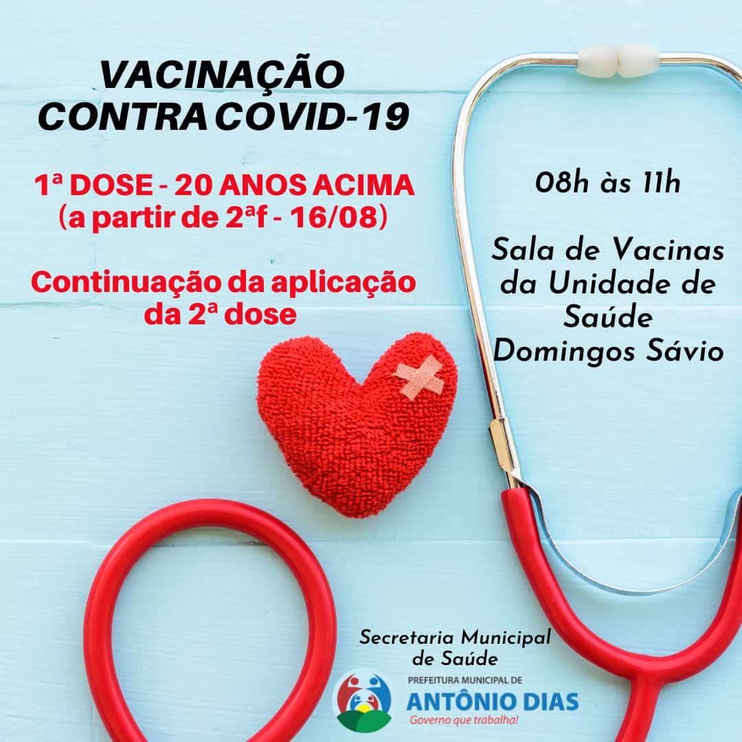 VACINAÇÃO CONTRA COVID-19: 1ª DOSE 20 ANOS ACIMA