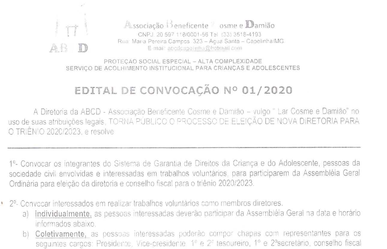 A Associação Beneficente Cosme e Damião abre edital ...