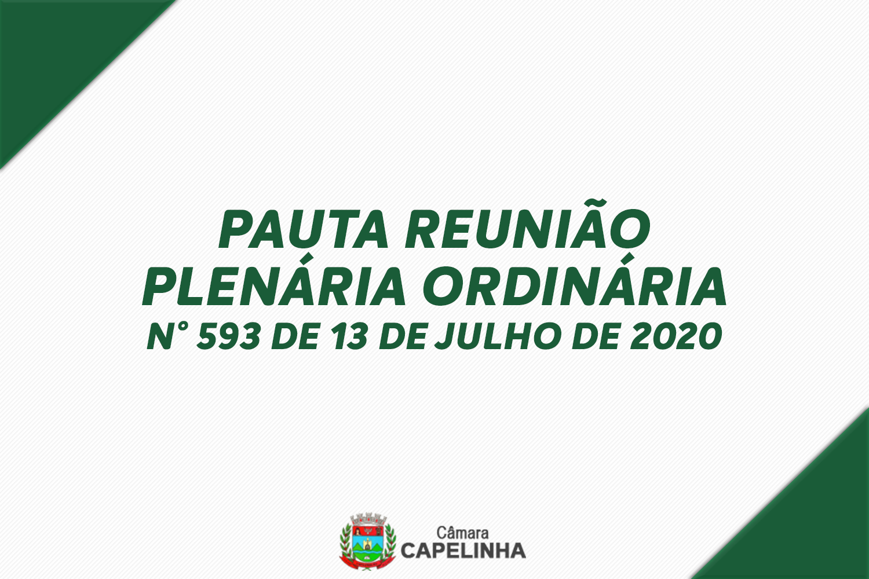 PAUTA DA 593ª REUNIÃO PLENÁRIA - TRIBUNA LIVRE