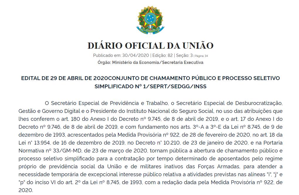 EDITAL DE 29 DE ABRIL DE 2020 CONJUNTO DE CHAMAMENTO...