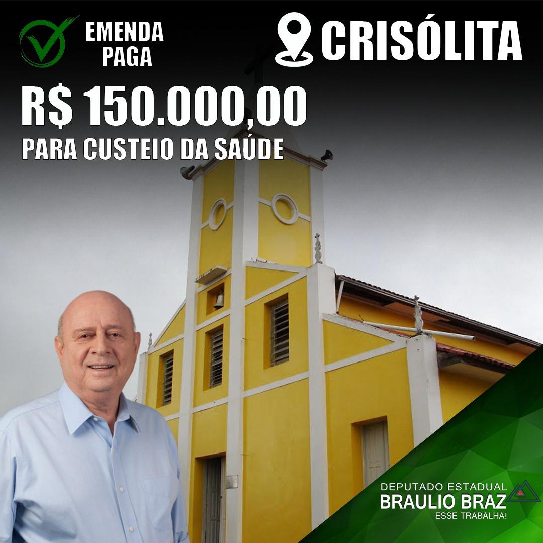 EMENDA DE 150 MIL REAIS DESTINADA A CRISÓLITA PARA C...
