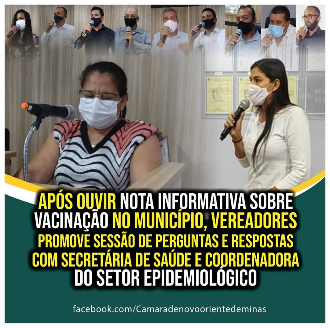 APÓS OUVIR NOTA INFORMATIVA SOBRE VACINAÇÃO NO MUNIC...