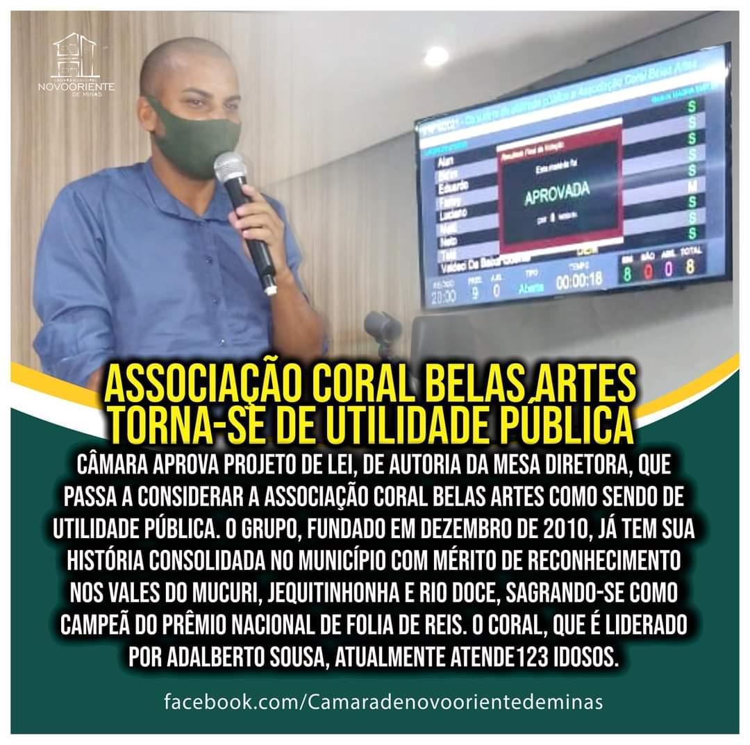 ASSOCIAÇÃO CORAL BELAS ARTES TORNA-SE UTILIDADE PÚBLICA