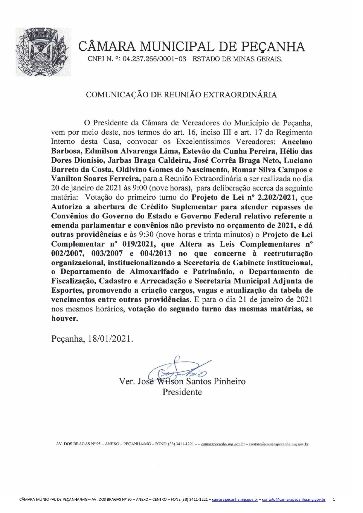 COMUNICAÇÃO DE REUNIÃO EXTRAORDINÁRIA