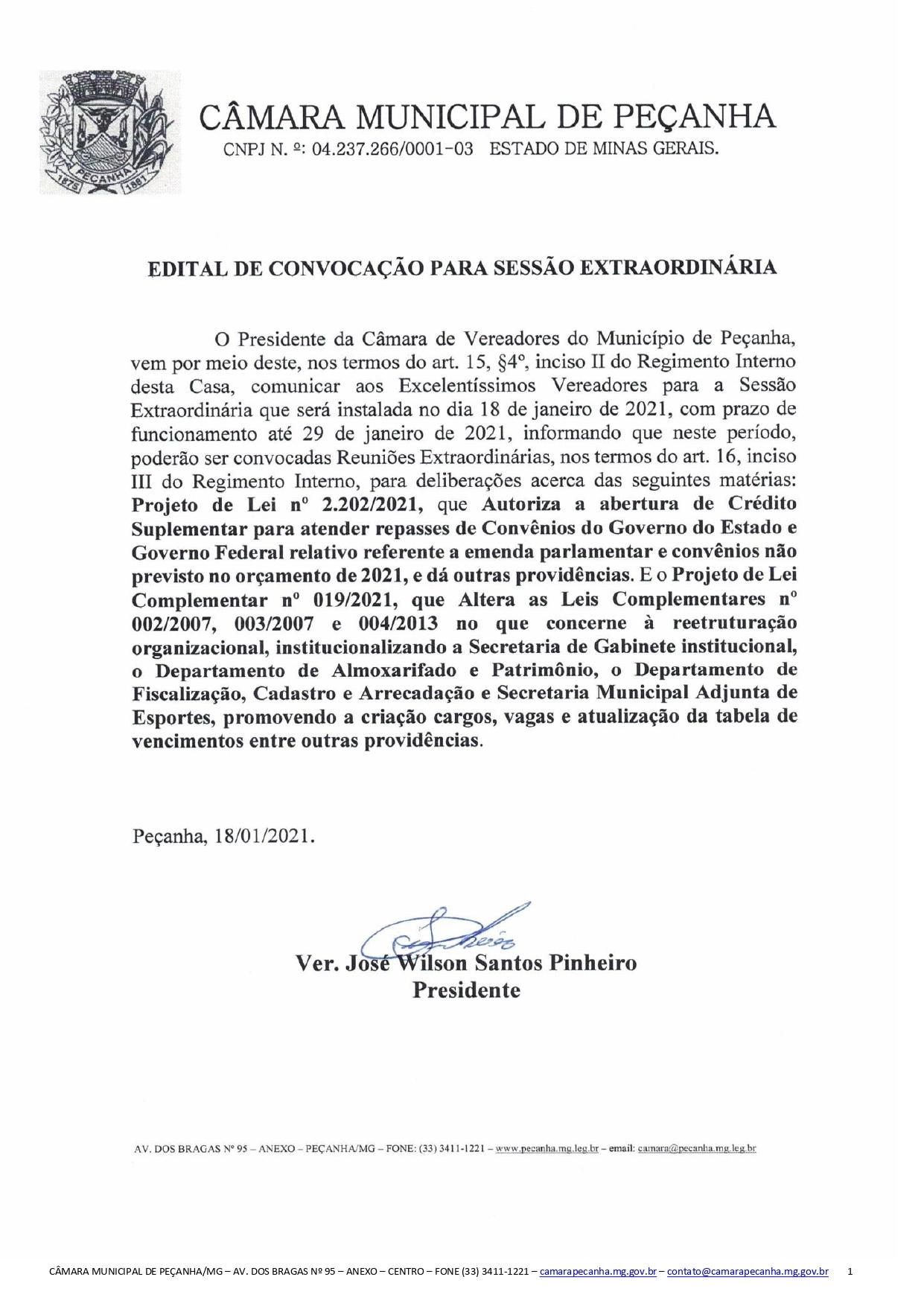 EDITAL DE CONVOCAÇÃO PARA SESSÃO EXTRAORDINÁRIA 18/0...