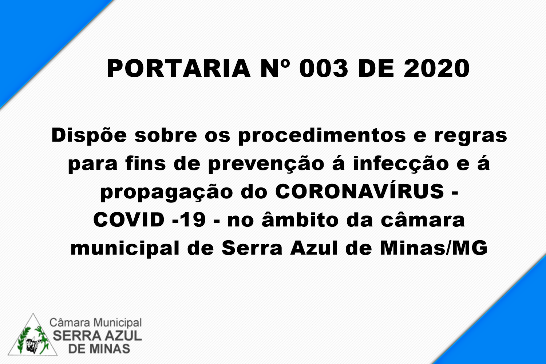 PORTARIA Nº 003  DE 2020