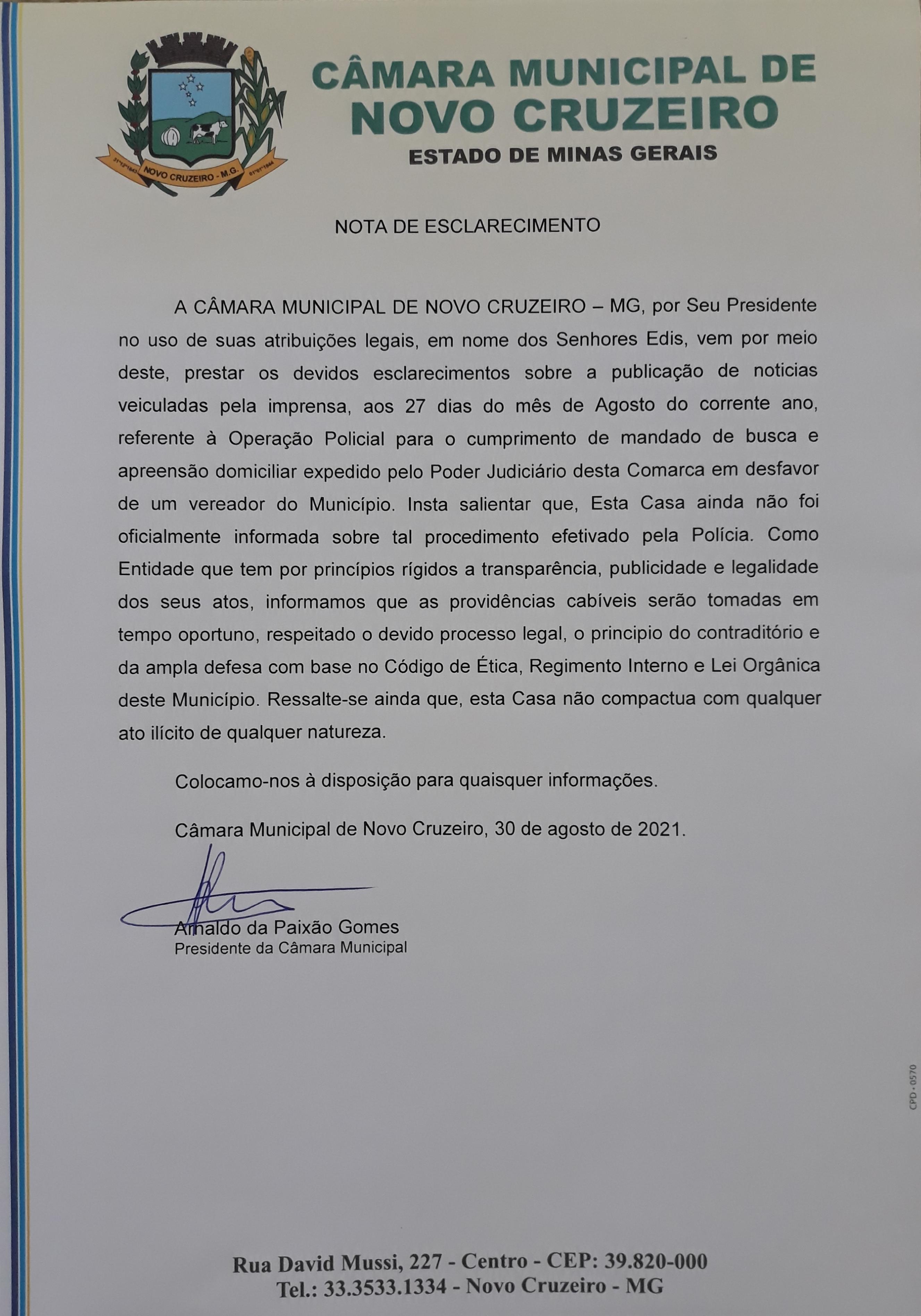 NOTA DE ESCLARECIMENTO - 30/08/2021