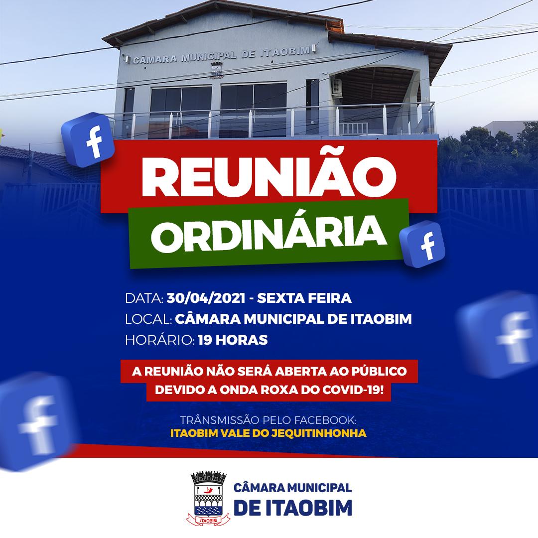 REUNIÃO ORDINÁRIA - 30/04/2021