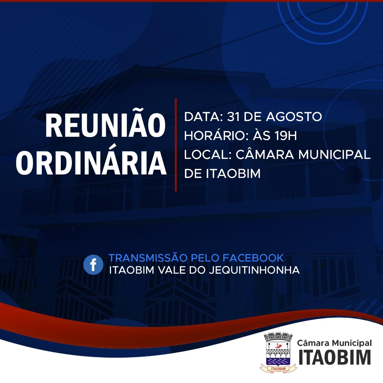 REUNIÃO ORDINÁRIA DO DIA 31/08/2021