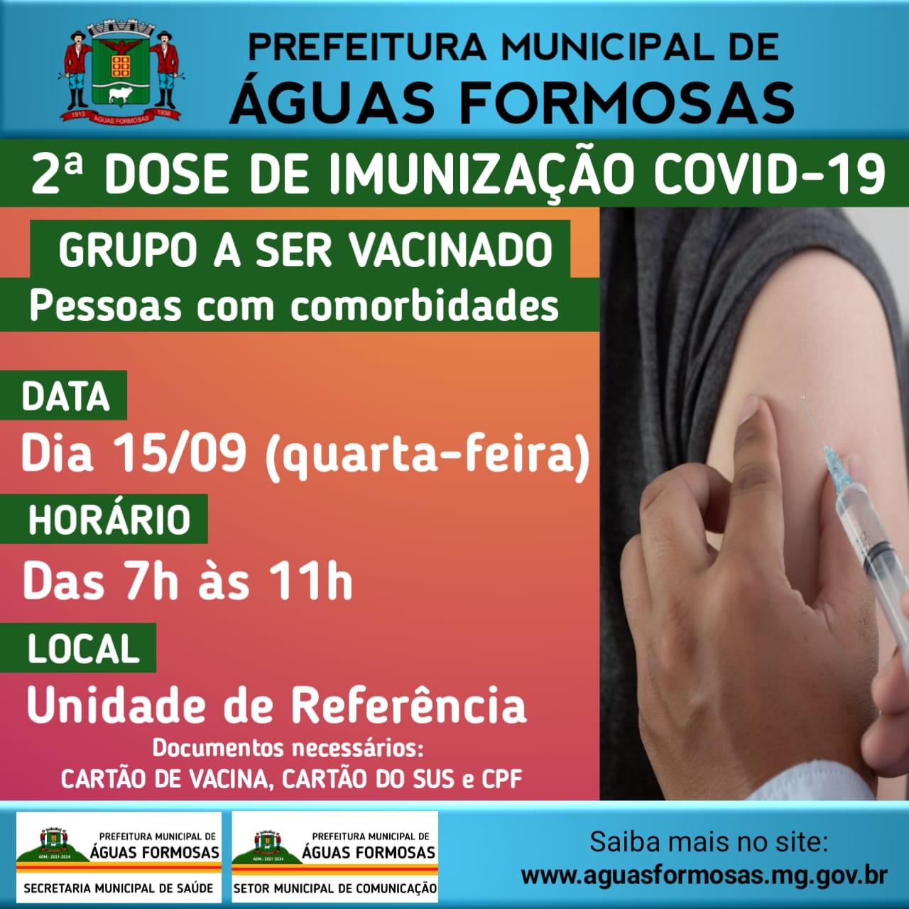 VACINAÇÃO CONTRA A COVID 19 2ª DOSE - PESSOAS COM CO...