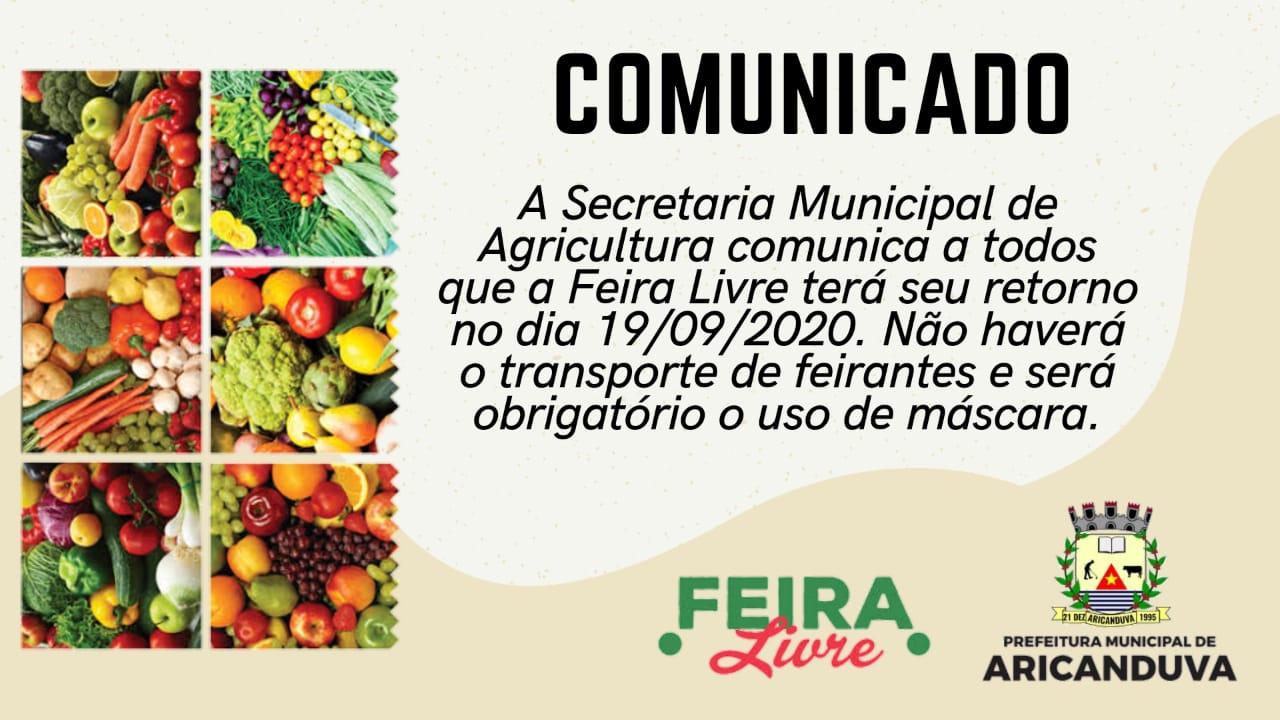 COMUNICADO - A VOLTA DA FEIRA LIVRE