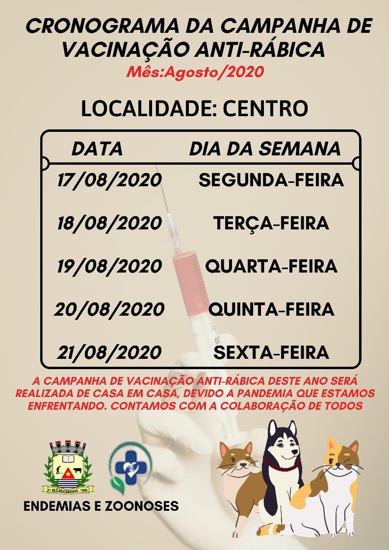 CRONOGRAMA DA CAMPANHA DE VACINAÇÃO ANTI-RÁBICA