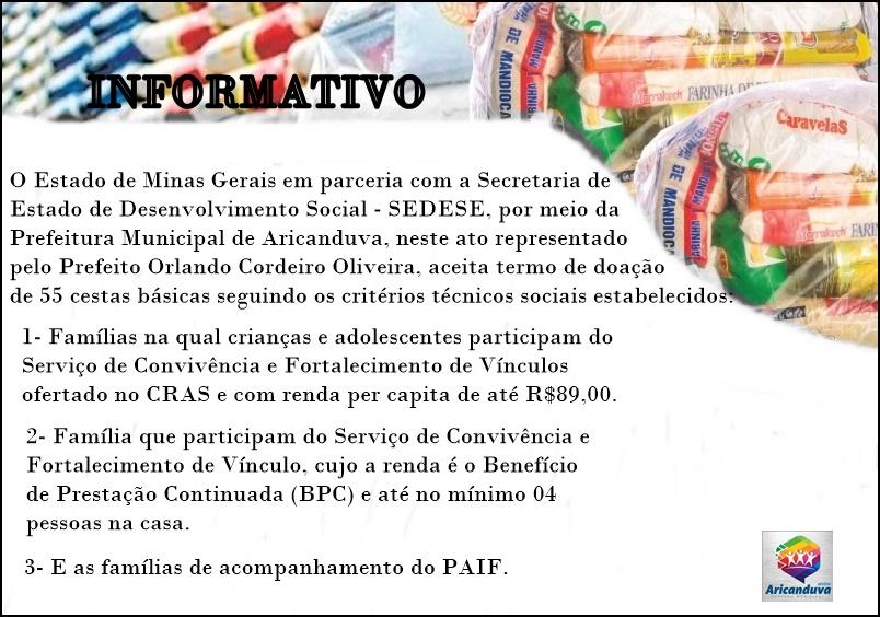 INFORMATIVO - CRITÉRIOS PARA RECEBIMENTO DE CESTA BÁ...