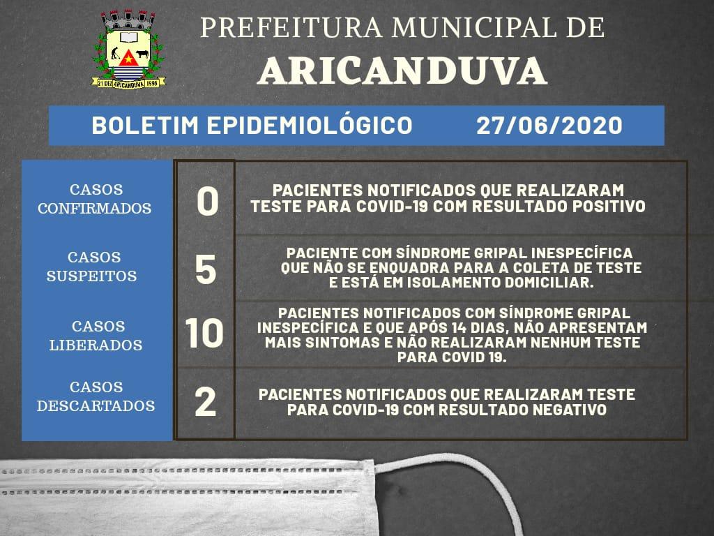 BOLETIM DIÁRIO OFICIAL CORONAVÍRUS 27 DE JUNHO DE 2020