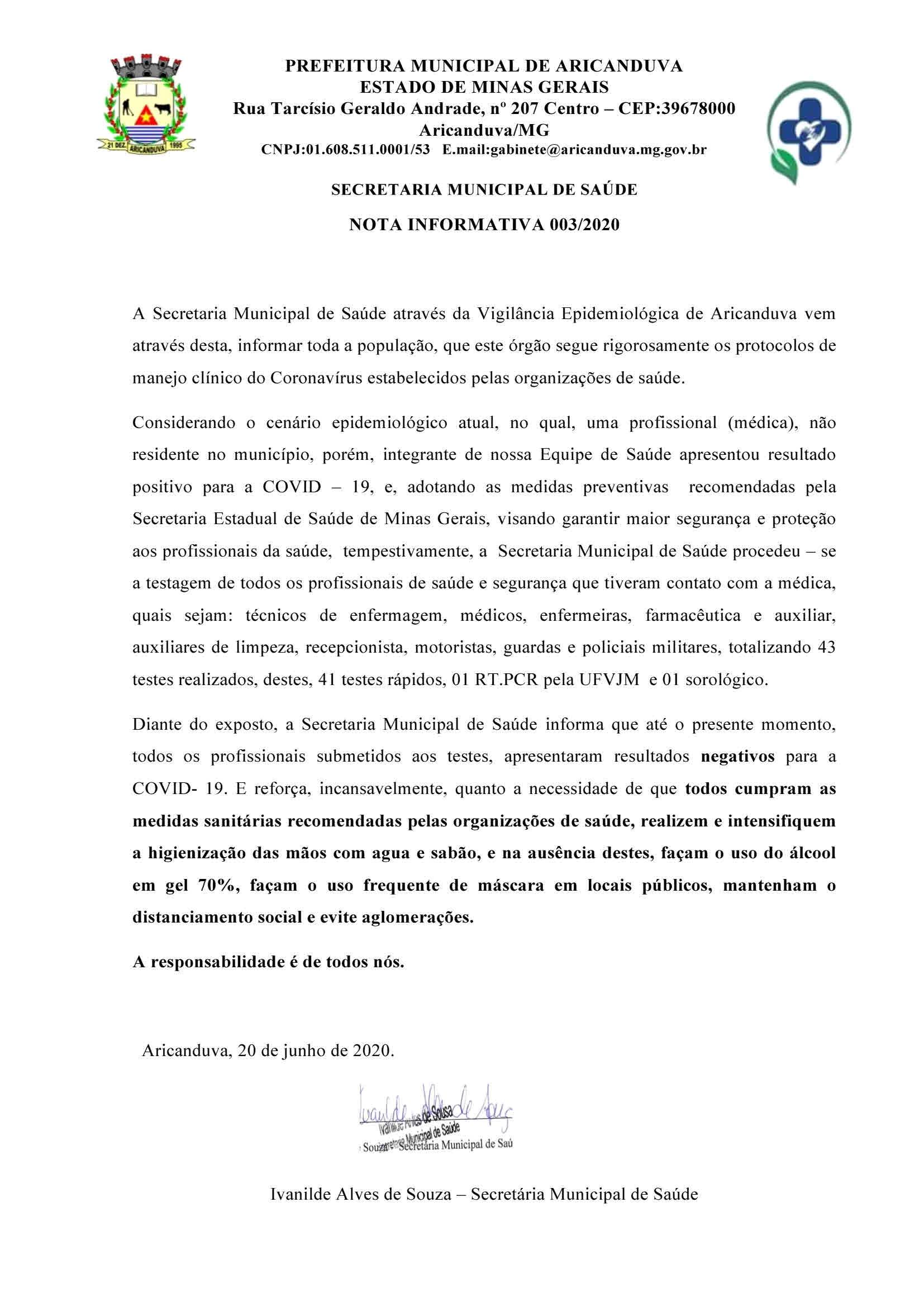 NOTA INFORMATIVA 003/2020 DA SECRETARIA DE SAÚDE