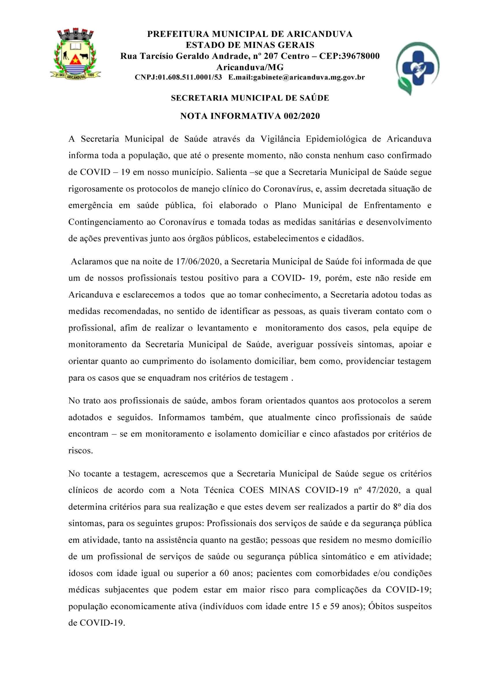 NOTA INFORMATIVA 002/2020 DA SECRETARIA DE SAÚDE
