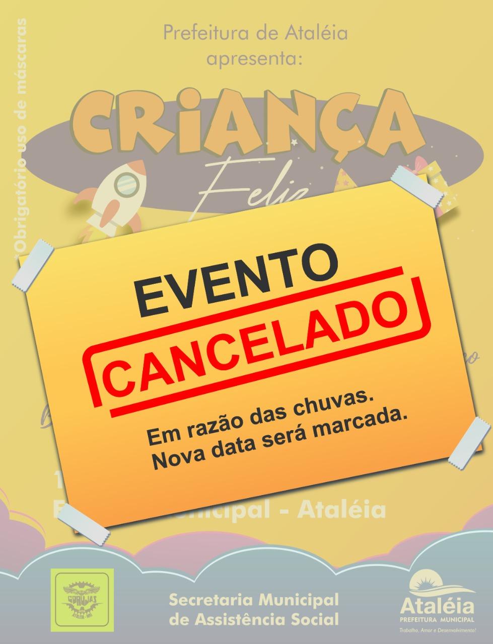 """PROGRAMAÇÃO DO """"CRIANÇA FELIZ"""" ESTÁ CANCELADA"""