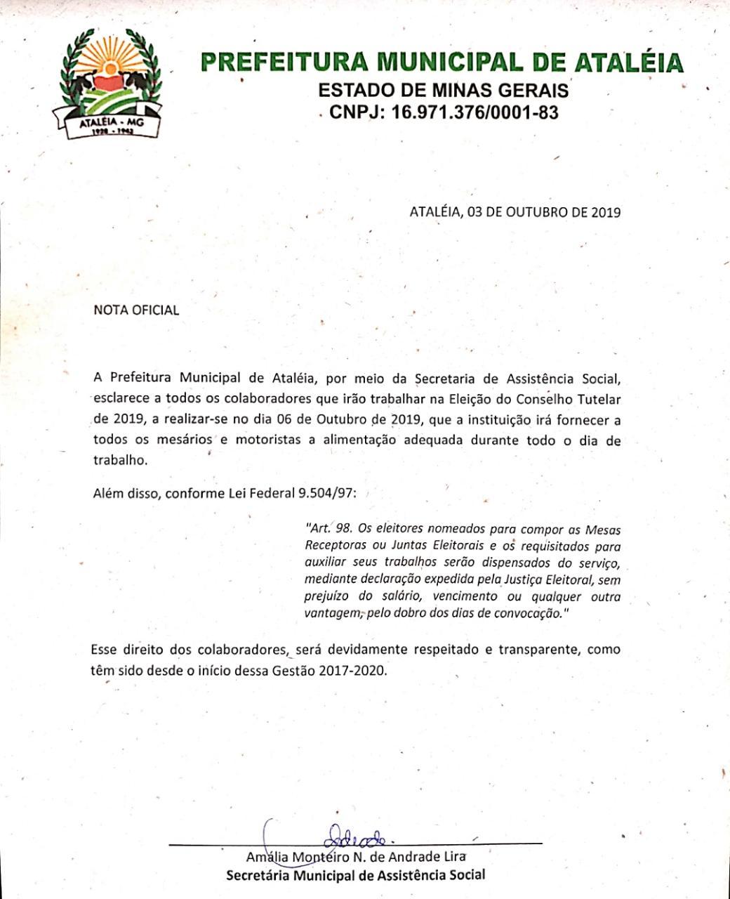 NOTA OFICIAL Á POPULAÇÃO ATALEENSE