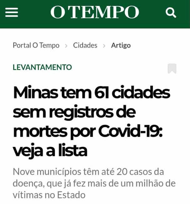 MINAS TEM 61 CIDADES SEM REGISTROS DE MORTES POR COV...