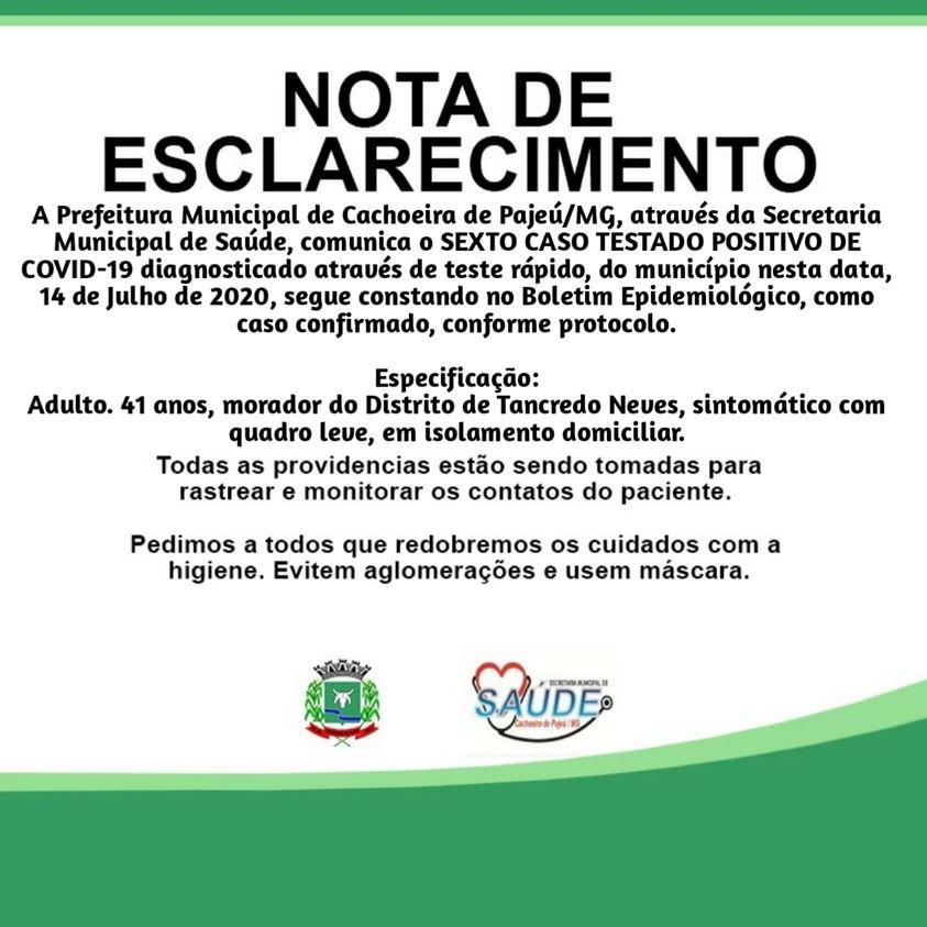 NOTA DE ESCLARECIMENTO 14 DE JULHO DE 2020