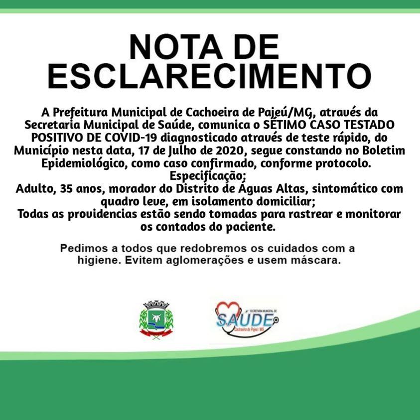NOTA DE ESCLARECIMENTO 17 DE JULHO DE 2020