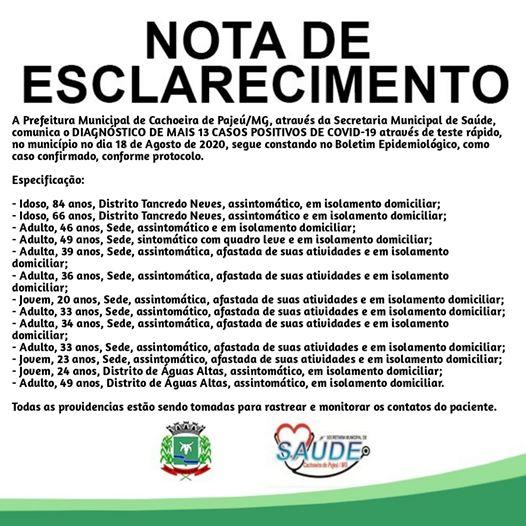 NOTA DE ESCLARECIMENTO 18 DE AGOSTO DE 2020