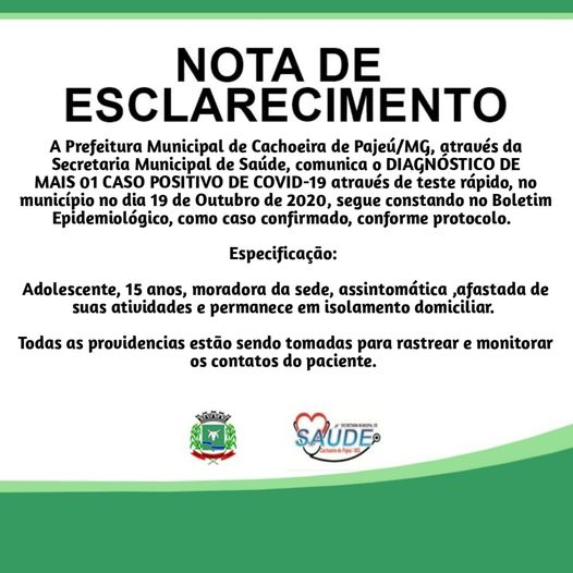 NOTA DE ESCLARECIMENTO 19 DE OUTUBRO DE 2020