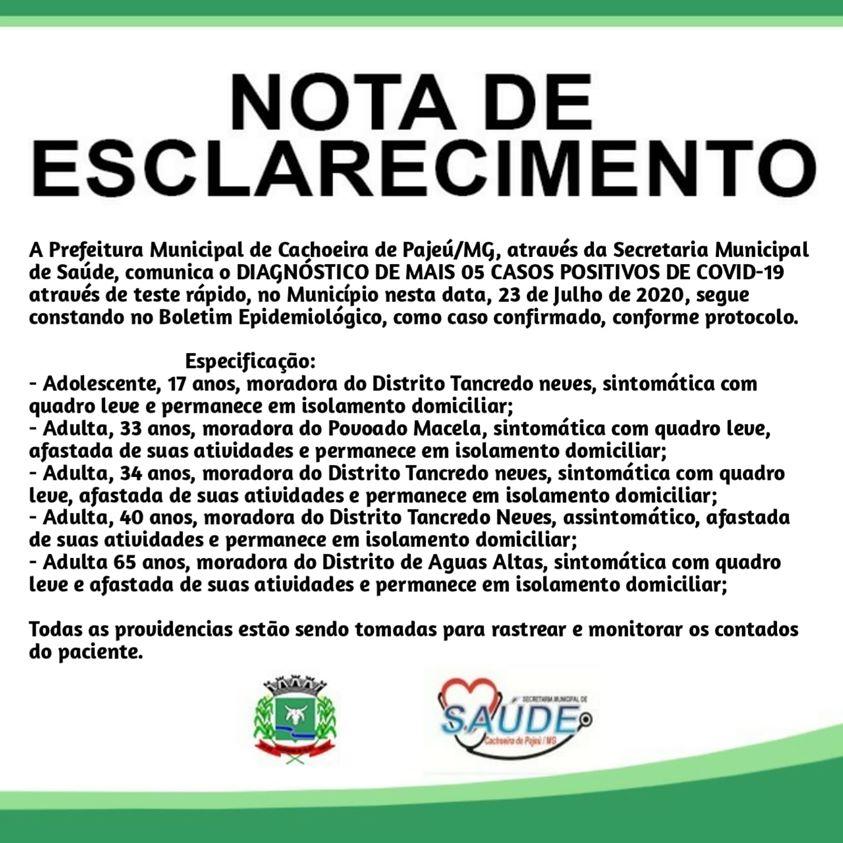 NOTA DE ESCLARECIMENTO 23 DE JULHO DE 2020