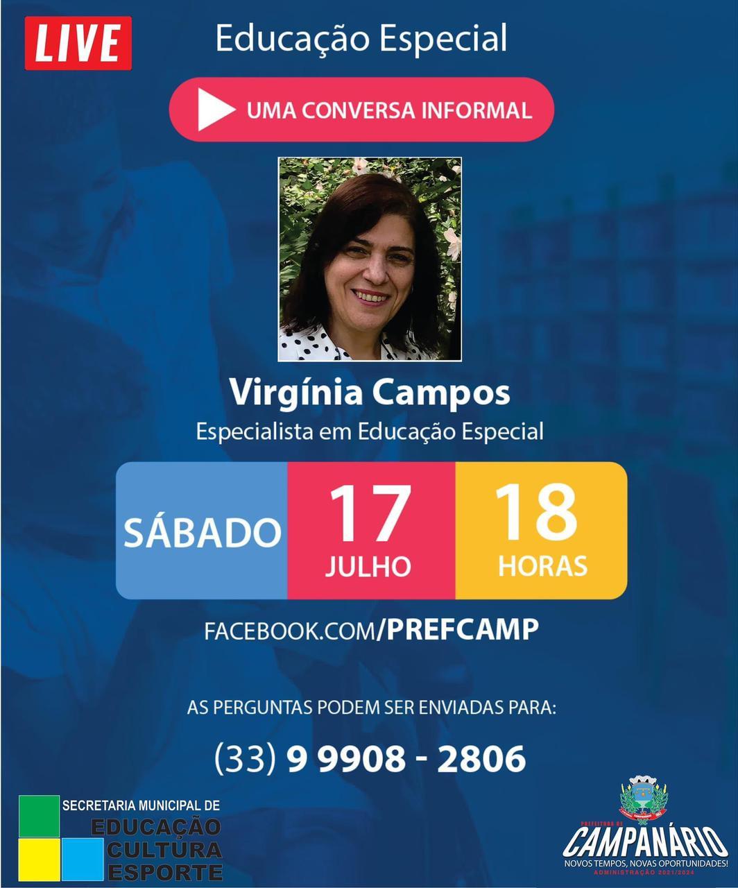 LIVE EDUCAÇÃO ESPECIAL, COM VIRGÍNIA CAMPOS