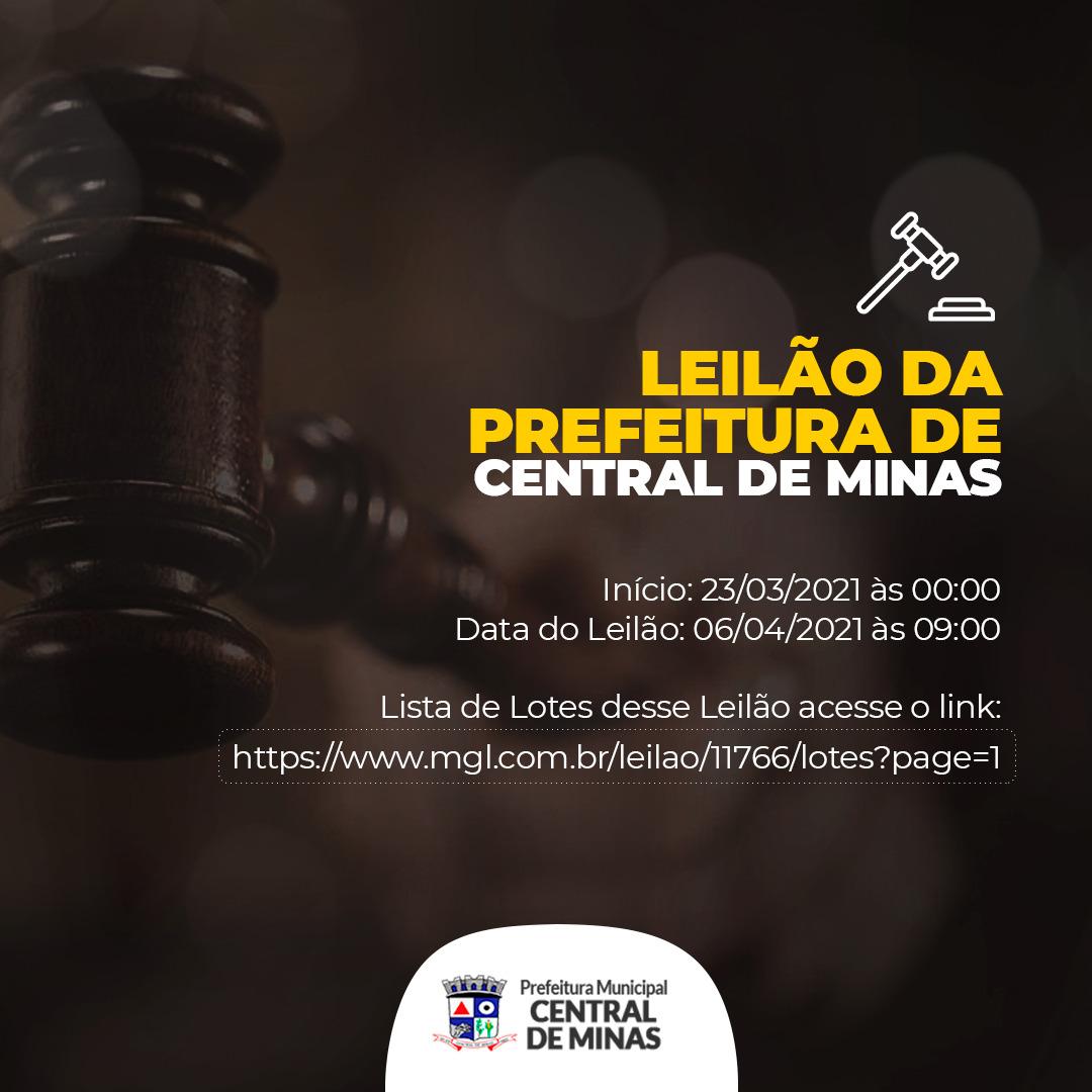 LEILÃO ONLINE DA PREFEITURA DE CENTRAL DE MINAS