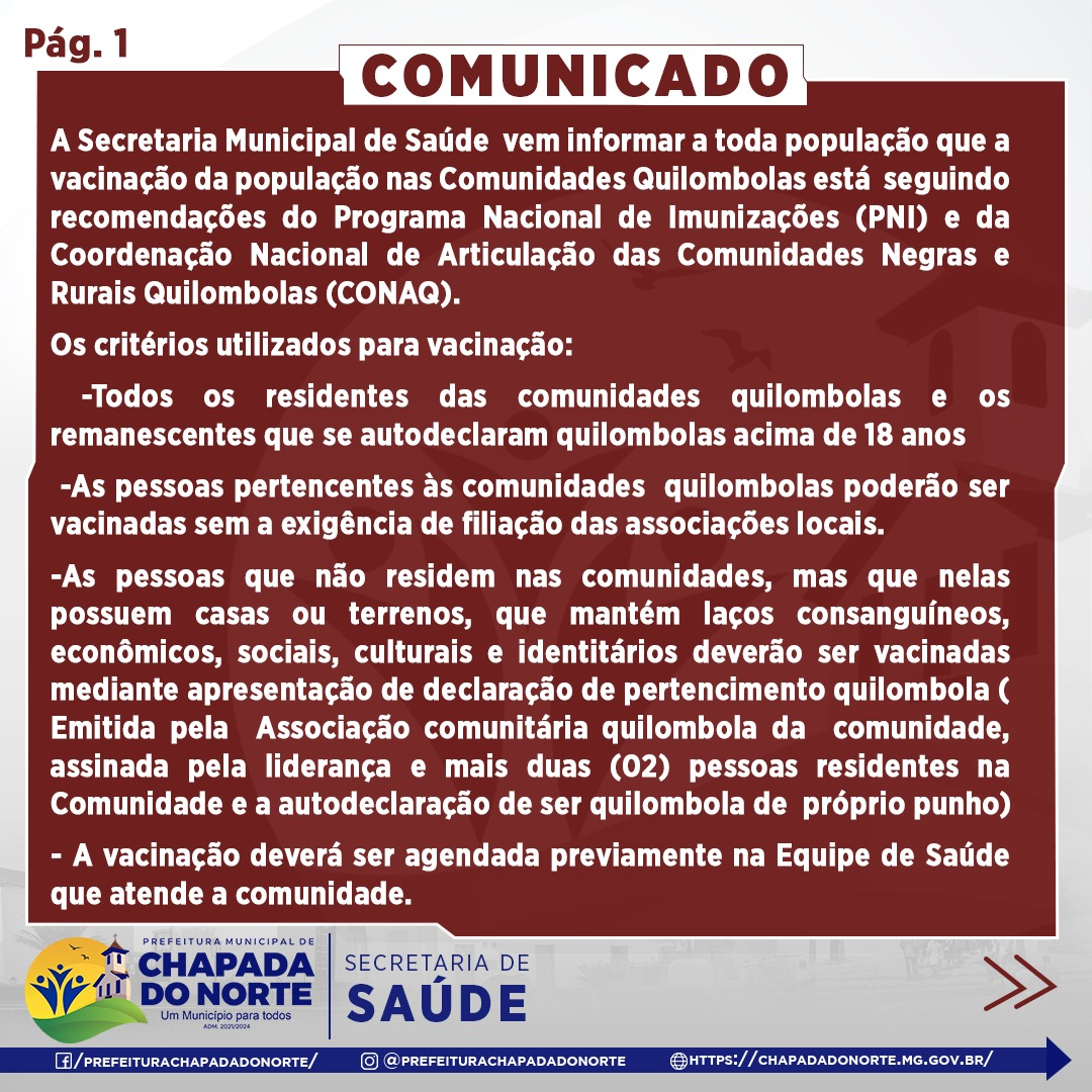 COMUNICADO -  VACINAÇÃO DE REMANECENTES QUILOMBOLAS