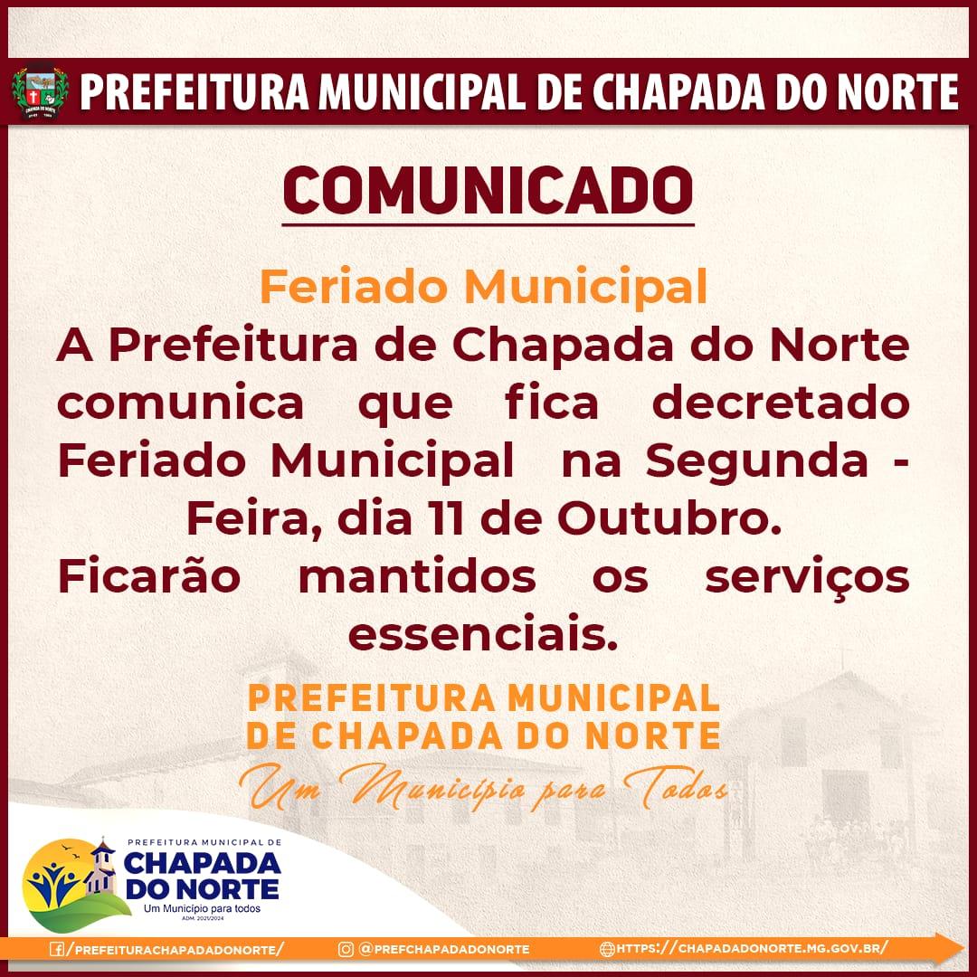 COMUNICADO - FERIADO MUNICIPAL