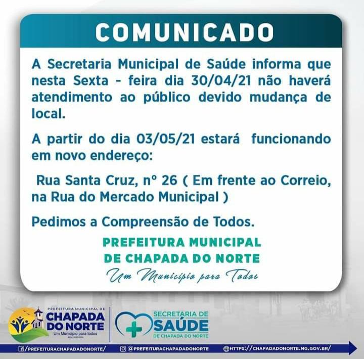COMUNICADO: SECRETARIA MUNICIPAL DE SAÚDE