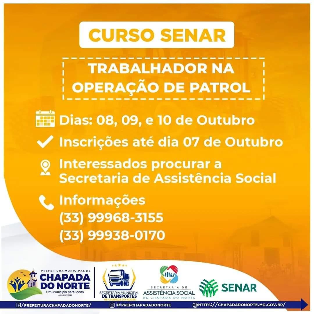 CURSO SENAR: TRABALHADOR NA OPERAÇÃO DE PATROL