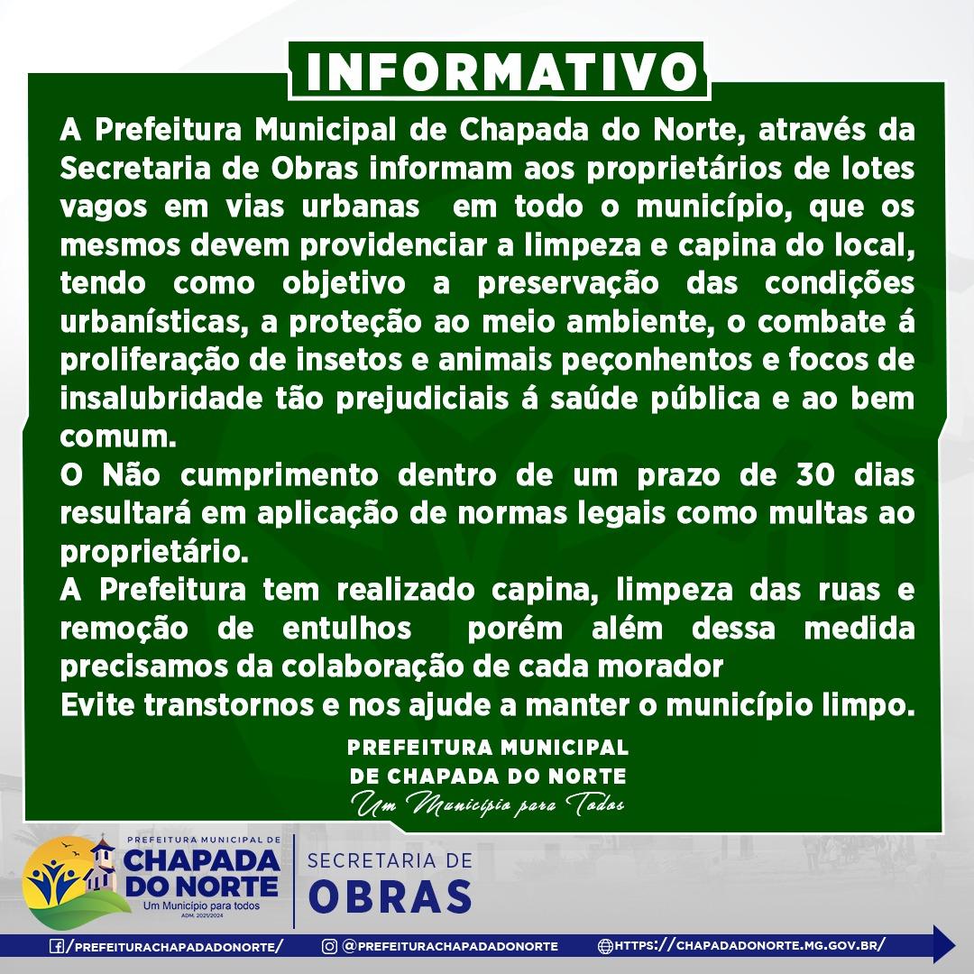 INFORMATIVO - LIMPEZA DE LOTES VAGOS