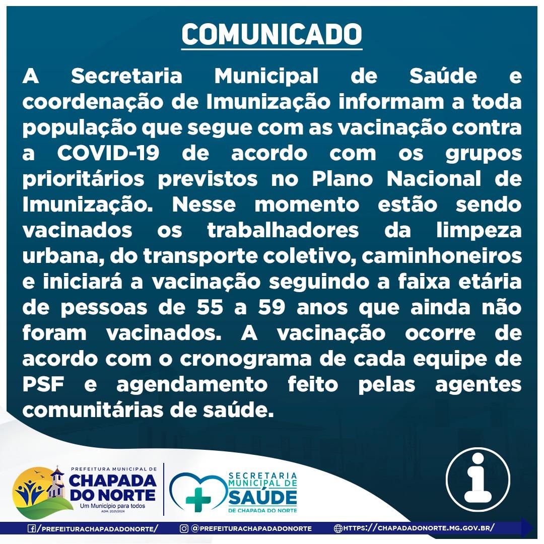 VACINAÇÃO CONTRA A COVID 19 OCORRE DE ACORDO COM O C...