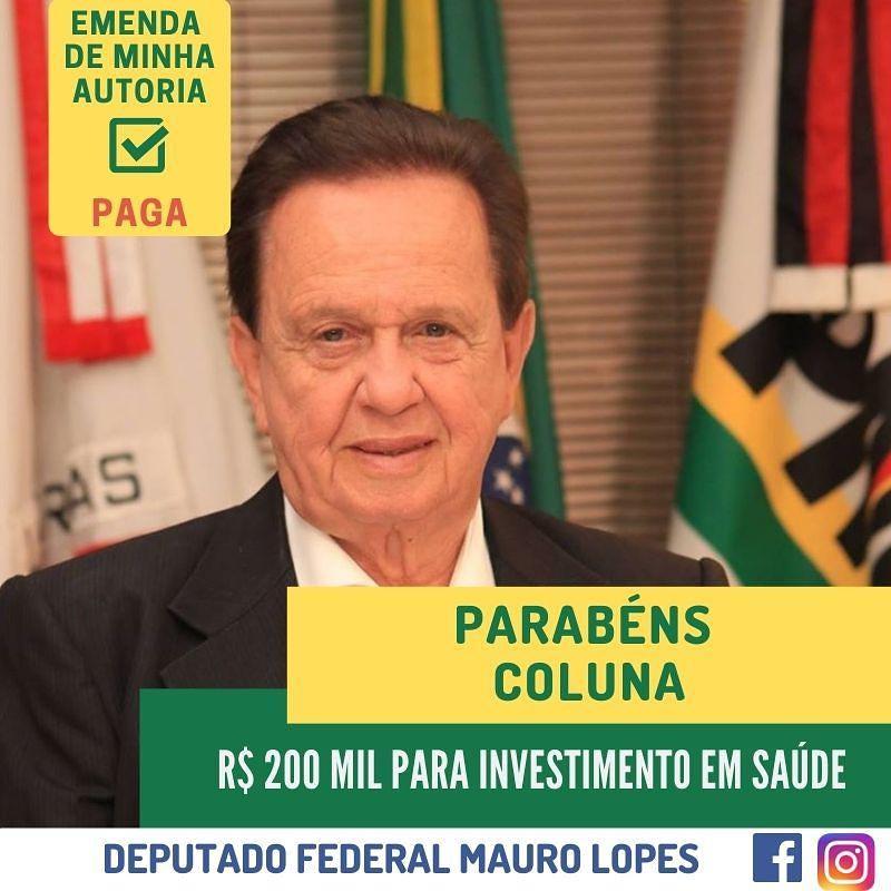 COLUNA RECEBE R$200 MIL PARA INVESTIMENTO EM SAÚDE -...