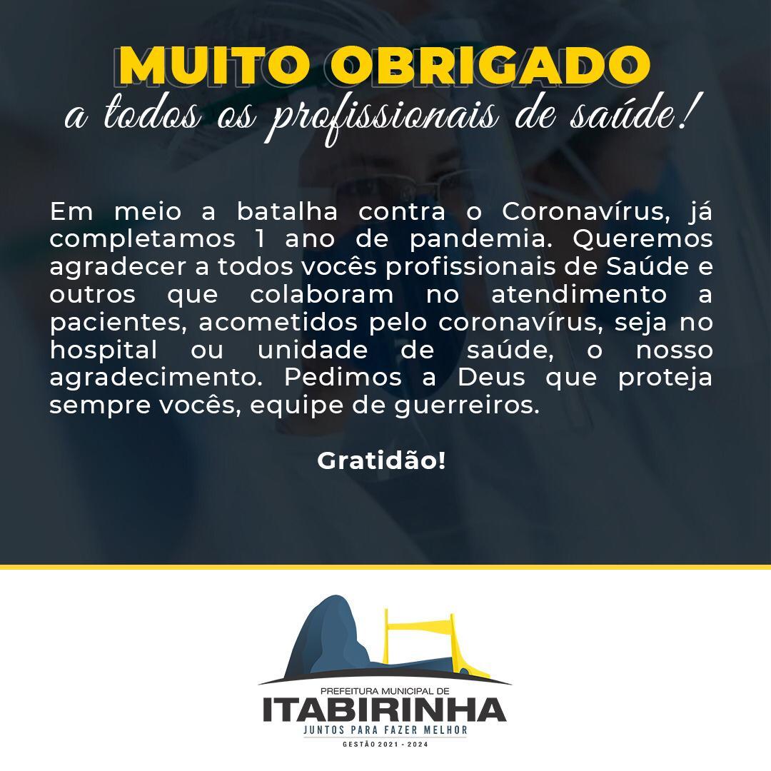 GRATIDÃO A TODOS OS PROFISSIONAIS DE SAÚDE