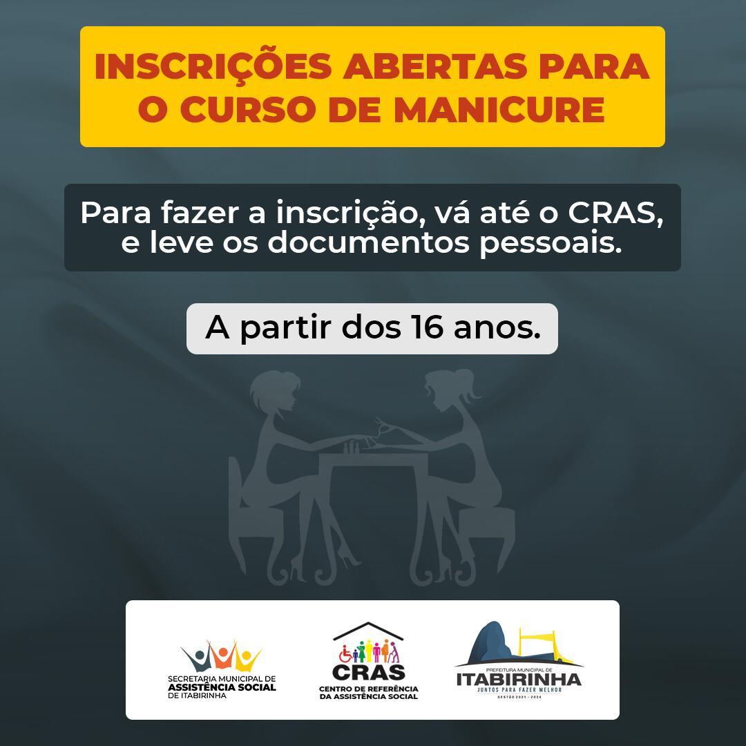 INSCRIÇÕES ABERTAS PARA O CURSO DE MANICURE - 2021