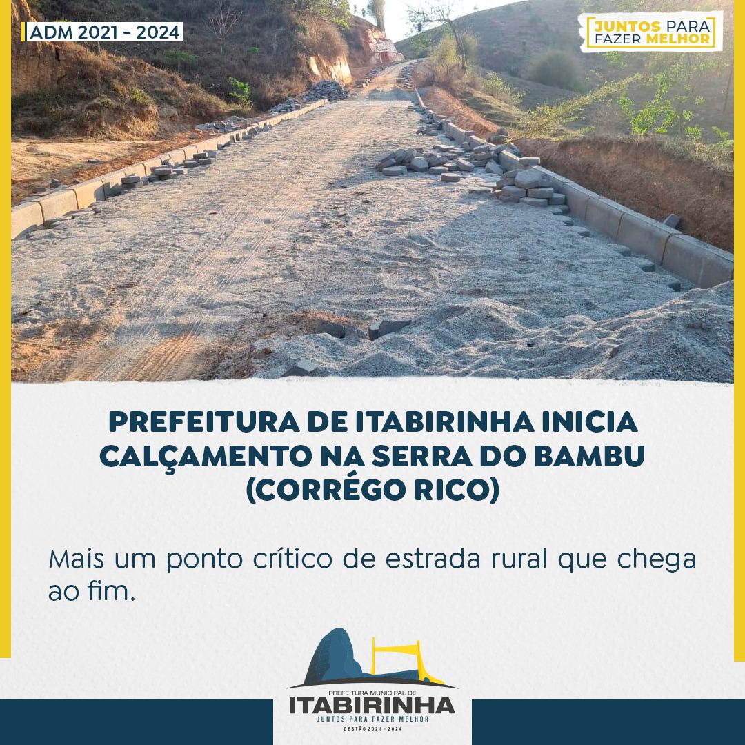 PREFEITURA DE ITABIRINHA INICIA CALÇAMENTO NA SERRA ...