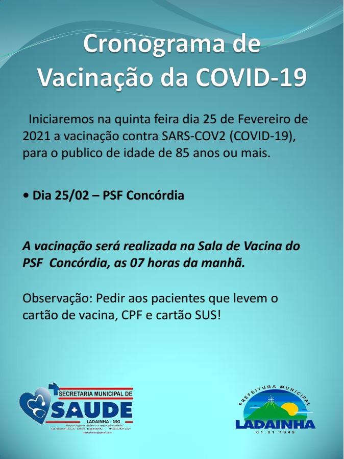 CRONOGRAMA DE VACINAÇÃO - 22/02/2021