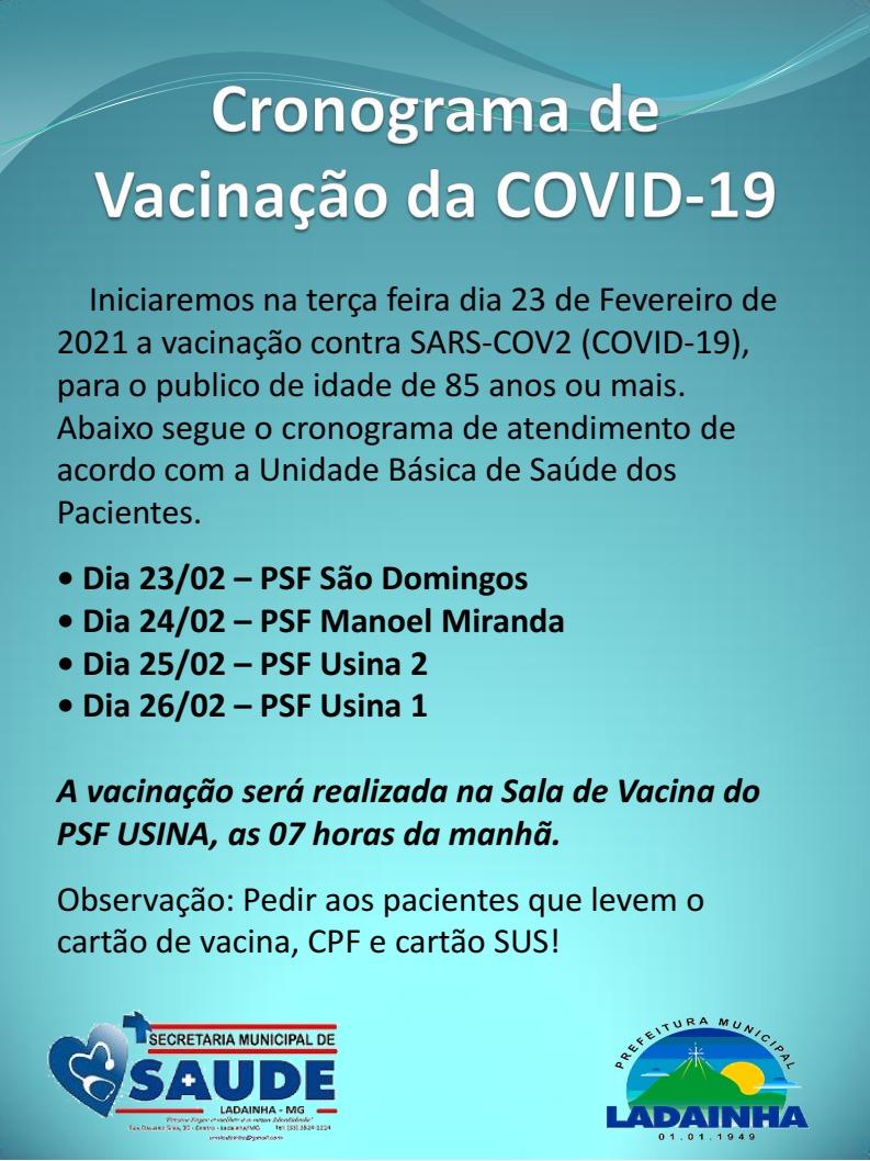 CRONOGRAMA DE VACINAÇÃO - 23/02/2021