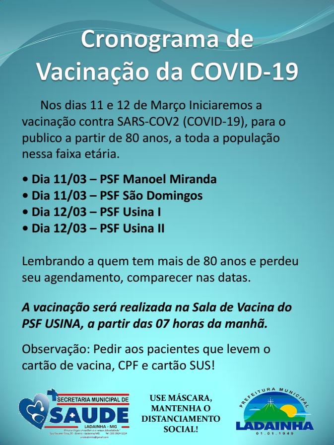 CRONOGRAMA DE VACINAÇÃO I - 11/03/2021 e 12/03/2021
