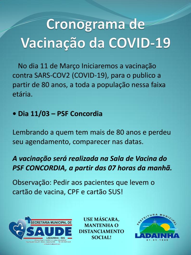 CRONOGRAMA DE VACINAÇÃO I - 11/03/2021