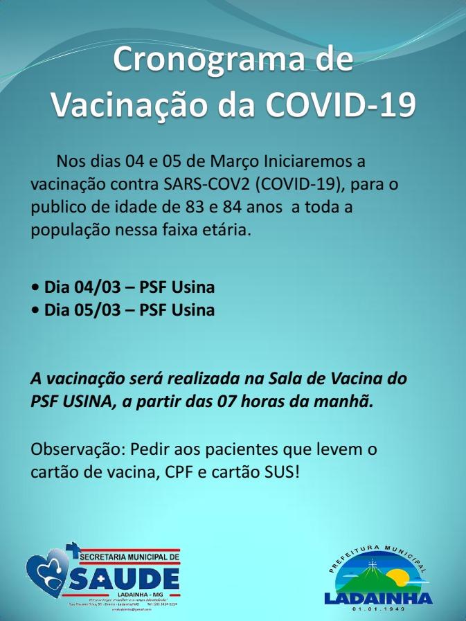 CRONOGRAMA DE VACINAÇÃO II - 03/03/2021