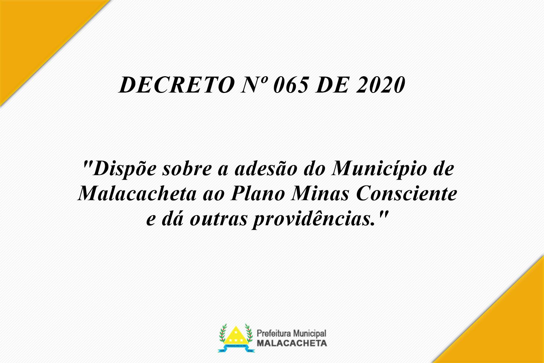 DECRETO DE ADESÃO AO PLANO MINAS CONSCIENTE