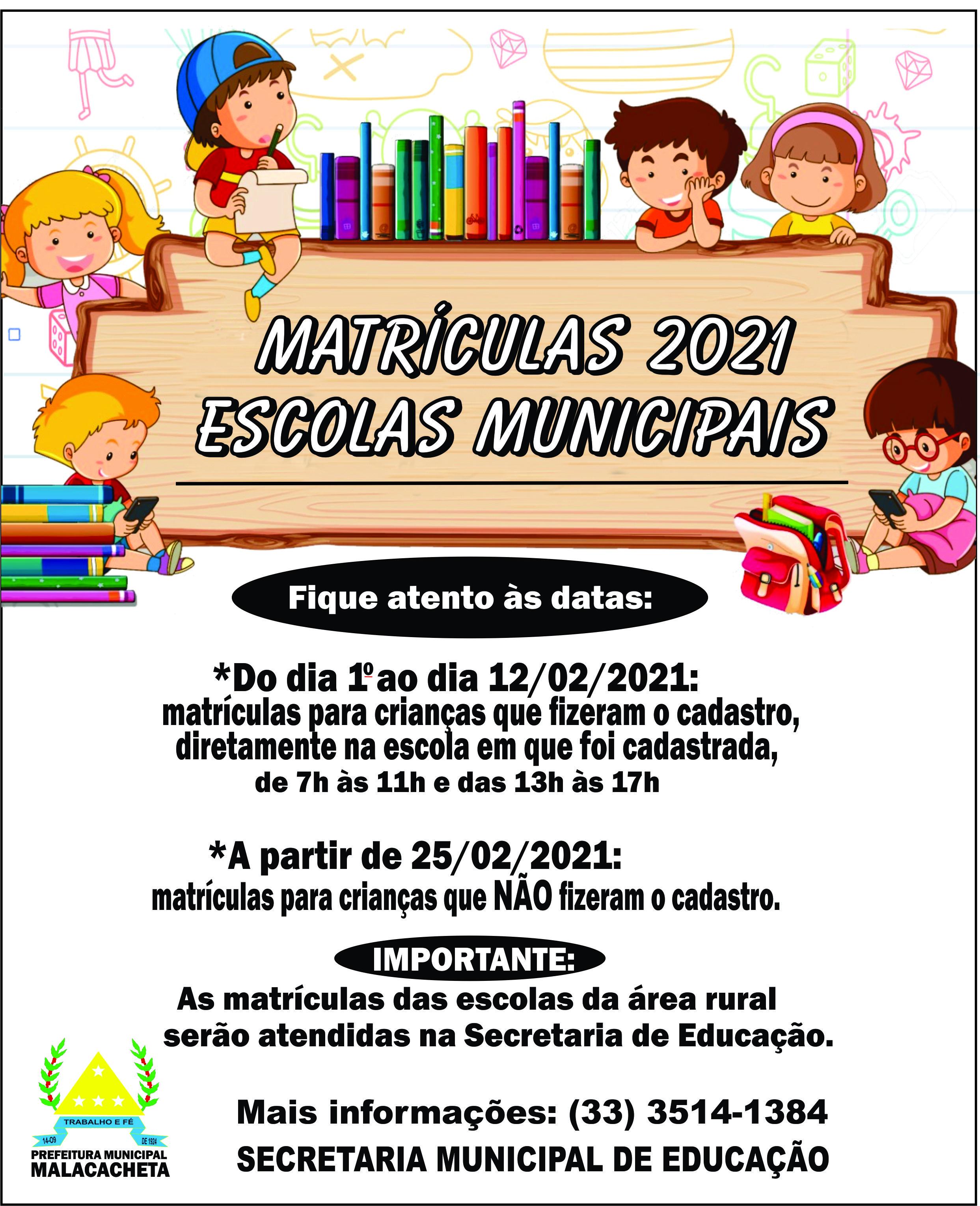 ESCOLAS MUNICIPAIS - MATRÍCULAS 2021
